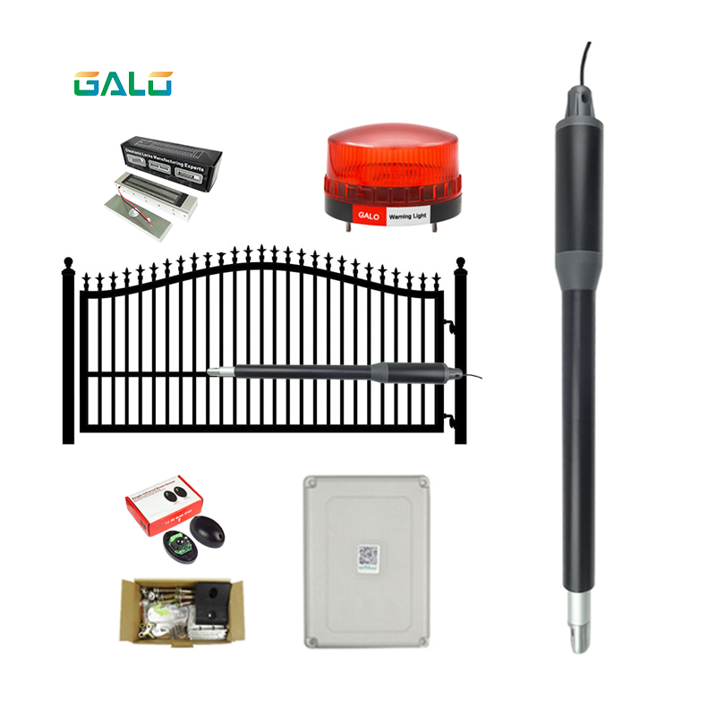GALO Gate Controls Light-Duty Solar Single Automatic Gate Opener Kit For PVC/Stainless Steel Pipe, Wood Swing Gates