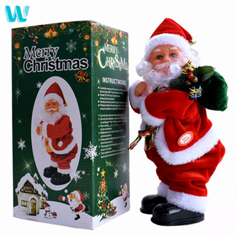WINCOTE New Christmas Decorations Electric Inverted Street Dance Santa Claus Music Christmas Children's Toys Ornaments Kids Toys