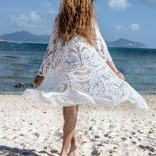 Женский кружевной однотонный Белый бикини, накидка, Кардиган с длинным рукавом, Свободный Повседневный тонкий прозрачный сексуальный купальник, накидка