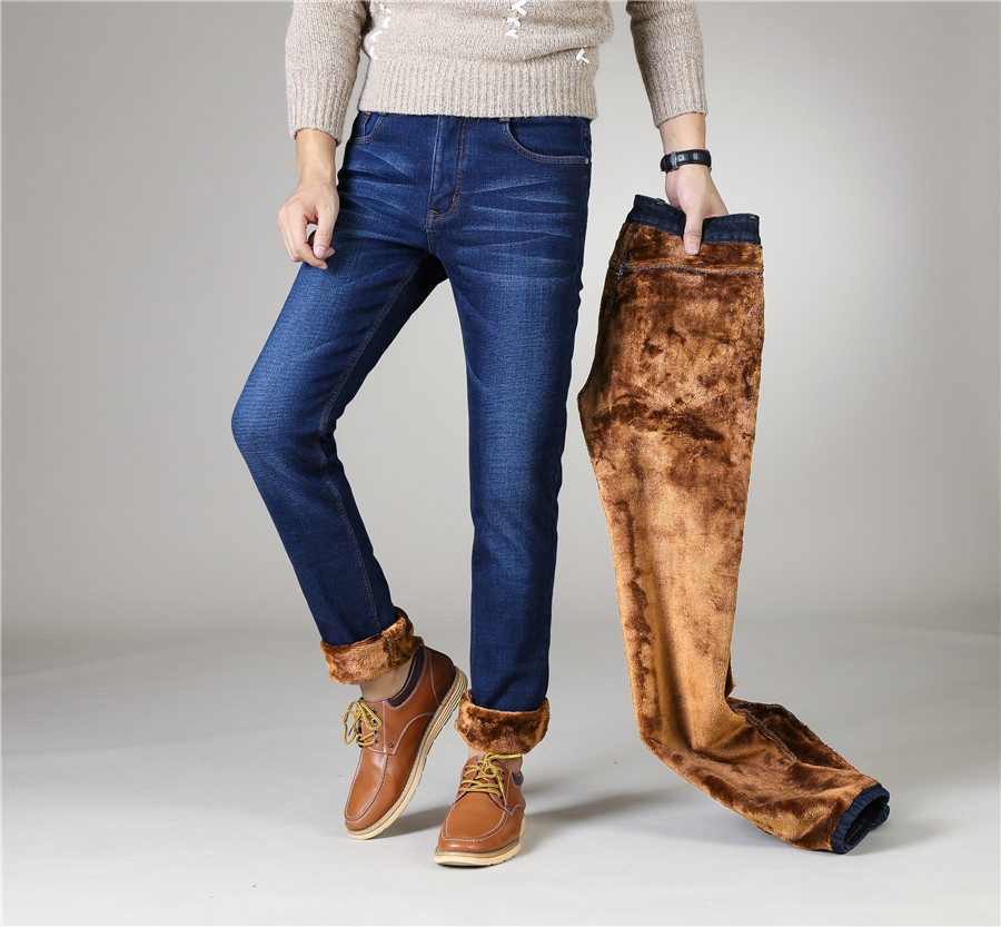 2020 Winter  New Men's Warm Black Skinny Jeans Classic Style Stretch Slim Fit Thick Pants Fashion Trousers Male Brand