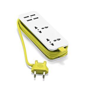 Image 4 - Ue listwa zasilająca z 4 przenośnymi przedłużaczami USB wtyczka Euro 1.5m kabel podróży Adapter USB inteligentna gniazdkowa ładowarka do telefonu pulpit Hub