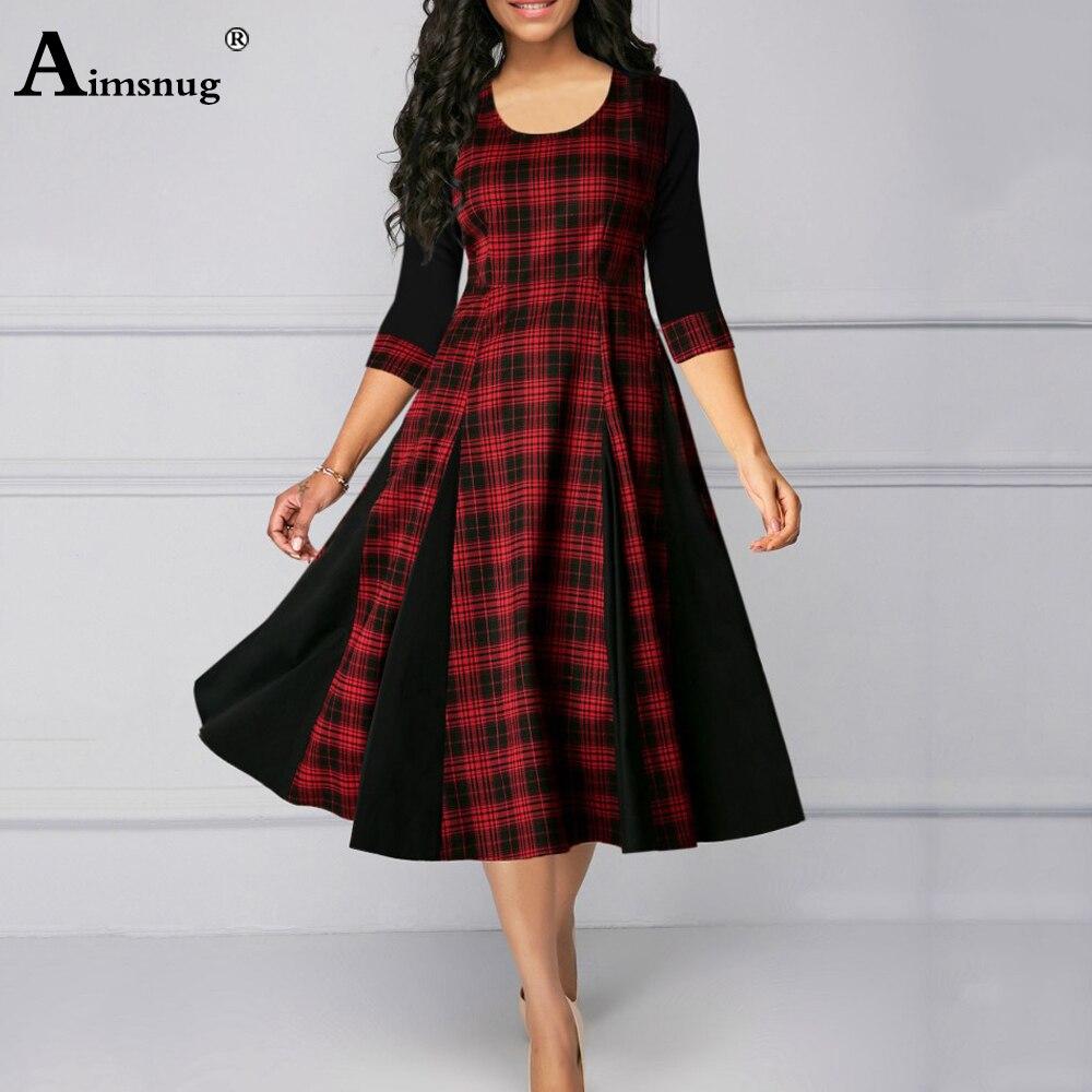 Plus size 4xl 5xl Women Elegant Mid Calf Dress Three Quarter Sleeve...