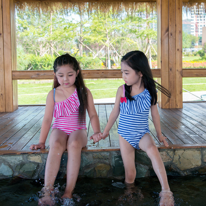 New Style CHILDREN'S Bikini One-piece Briefs Shoulder Stripes Flounced Infants Baby Girls Children Bathing Suit