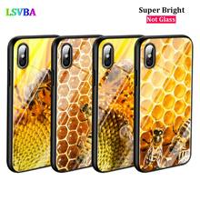 Black Cover Golden Honeycomb Honey for iPhone X XR XS Max for iPhone 8 7 6 6S Plus 5S 5 SE Super Bright Glossy Phone Case black cover japanese samurai for iphone x xr xs max for iphone 8 7 6 6s plus 5s 5 se super bright glossy phone case