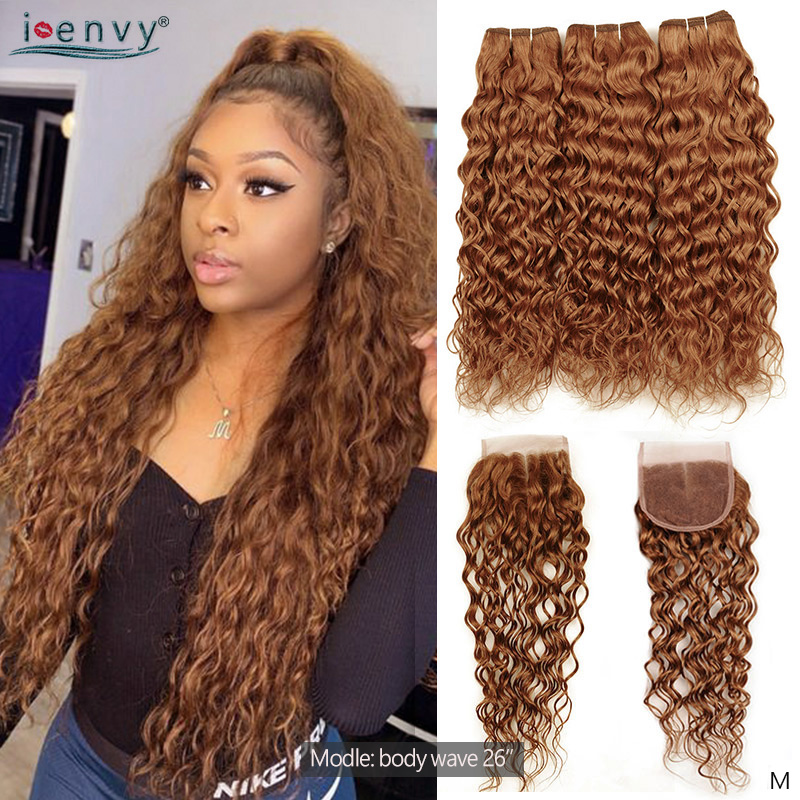 Ginger Blonde Water Wave Bundles With Closure Brazilian Hair Weave Bundle With Closure Colored Human Hair Blonde Bundle Non-remy
