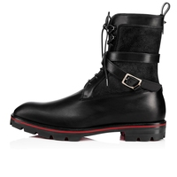 Men Casual Boots Black Suede and Leather Patchwork Lace Up Ankle Men Boots Fashion Belt Cross Shoes Side Zip Low Heel Boots