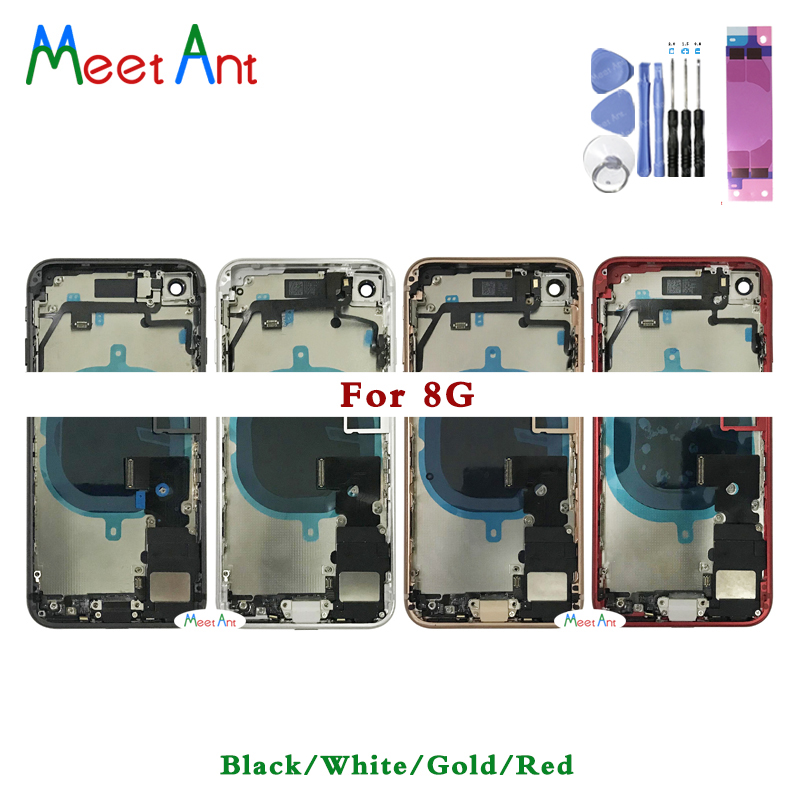 High Qualit For Iphone 8 8G / 8 Plus / X Back Middle Frame Chassis Full Housing Assembly Battery Cover Door Rear With Flex Cable