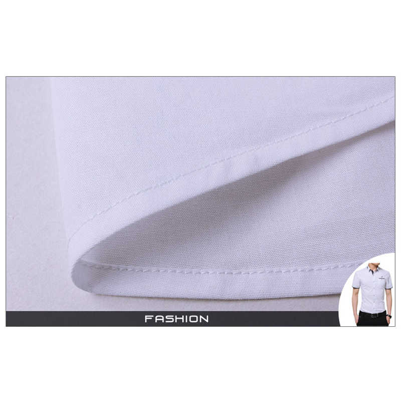 Mode Cetak Blus Camisa Sosial Masculina Dudalina Lengan Pendek Slim Fit Kemeja Pria Pakaian Bordir Putih Pria Dingin