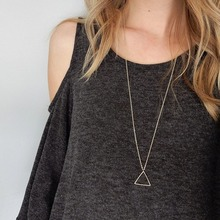 a Long Aesthetic Girl Necklace Chain Triangle Women Silver Color Vintage Pendant Necklace Jewelry Collares Collier elegant triangle alloy shirt collar tips necklace silver