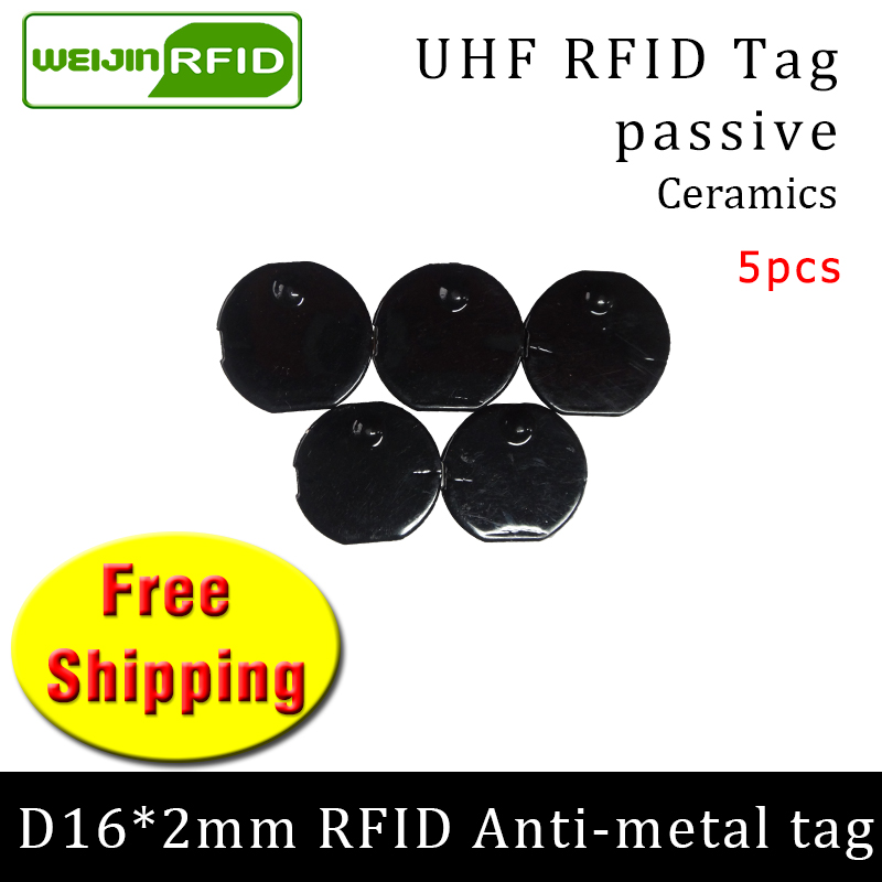 UHF RFID Metal Tag 915mhz 868mhz Alien Higgs3 EPC 5pcs Free Shipping D16mm*2mm Small Circular Ceramics Smart Passive RFID Tags