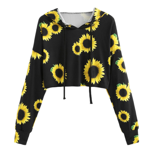 Home Nest Womens Autumn Crop Top Hoodies Long Sleeve Sunflower Printing Hooded Sweatshirt Tops Casual Hoodies Women Sweatshirts