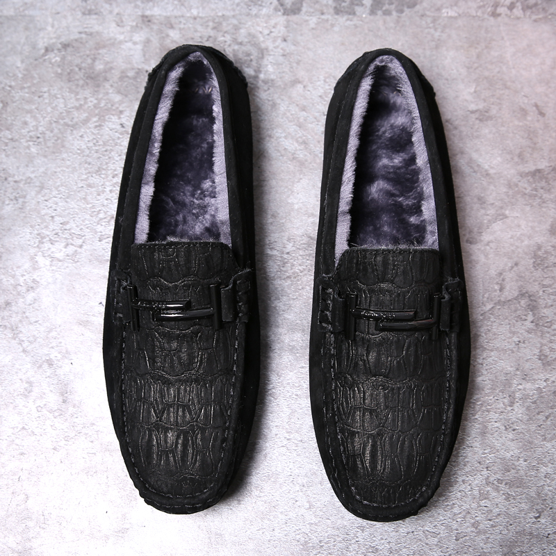 Buy New Loafers Men Footwear With Fur Flats Men Shoes Loafers Moccasins Brand Drive Shoes Velvet Loafers For Mens Slip On Sneakers