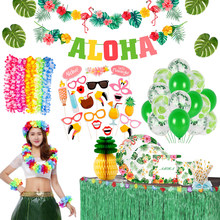 10Pcs Hawaiian Party Artificial Flowers leis Garland Necklace Hawaii Beach Flowers Luau Summer Tropical Wedding Party Decor