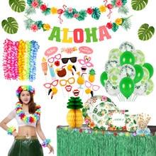 10 pçs festa havaiana flores artificiais lei garland colar hawaii praia flores luau verão tropical decoração da festa de casamento