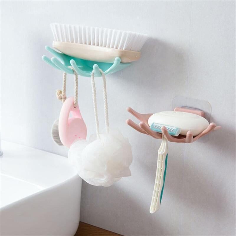HOMETREE Bathroom Shower Five Fingers Soap Box Dish Storage Case Soap Holder Bathroom Tray Accessories Box Shelf Wall Dishes