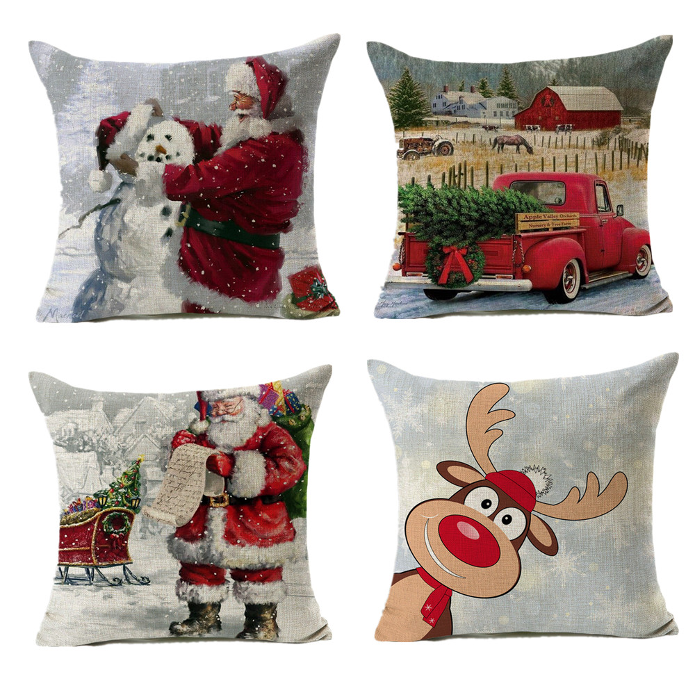 45x45cm Cotton Linen Santa Clause 2019 Cover Cushion Pillow Case Merry Christmas Decor For Home Decor 2020 Navidad Xmas Gift