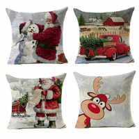 45x45cm de lino de algodón Santa Claus 2019 funda de cojín funda de almohada Feliz Navidad decoración para la decoración del hogar 2020 regalo de Navidad