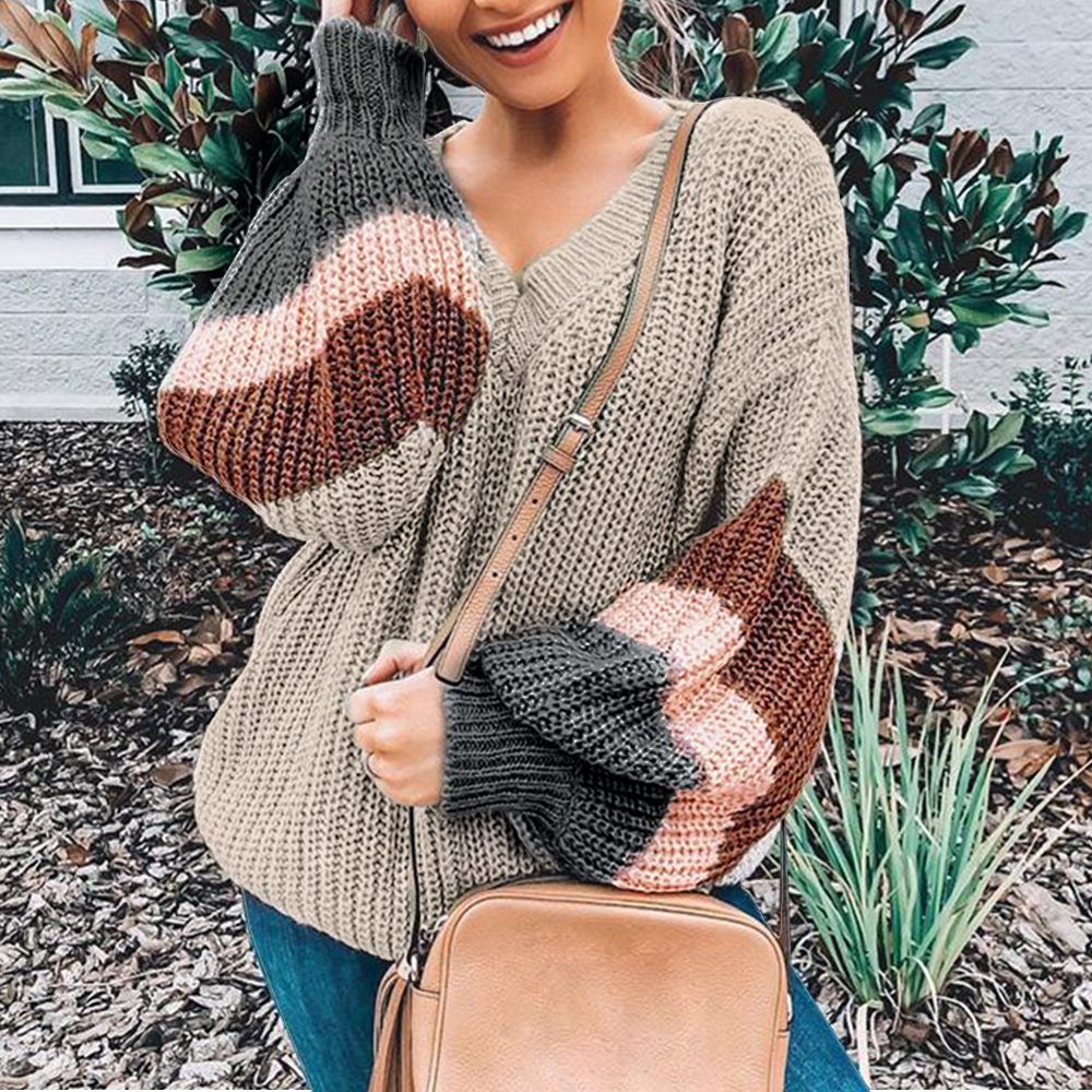 2019 Women Autumn Winter Thin Sweater V-neck Shirts Lantern Sleeve Stripe Colorblock Patchwork Pullover Streetwear Plus Size Top