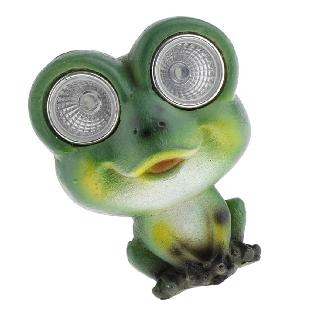 Rana verde Luci Da Giardino In Resina Animale Statua con Solar-Powered Occhi per il Partito Bar Casa Patio Decorazione del Giardino Statua