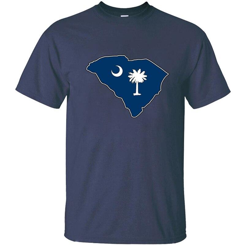Güney Carolina bayrağı harita T-Shirt erkekler büyük erkek T Shirt Tee gömlek adam kostüm serin % 100% pamuk kısa kollu Hip hop