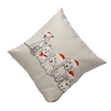 Ouneed Vintage Navidad perro lindo sofá cama hogar Decoración caja cojín Festival funda de cojín