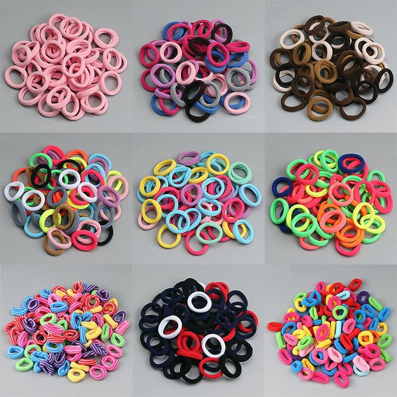 100PCS Cute Small Ring Rubber Bands Kids Elastic Hair Bands Headband Hair Ties