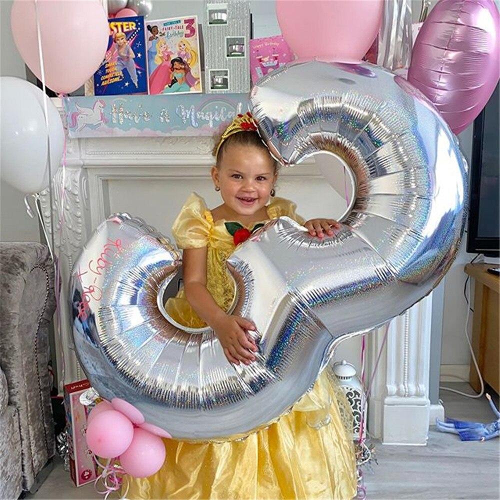 Большой размер 40 и 42 дюйма синий/розовый большой номер фольги Воздушные шары 0-9 день рождения свадьбы помолвки вечерние украшения Globos Детские бальные принадлежности-2
