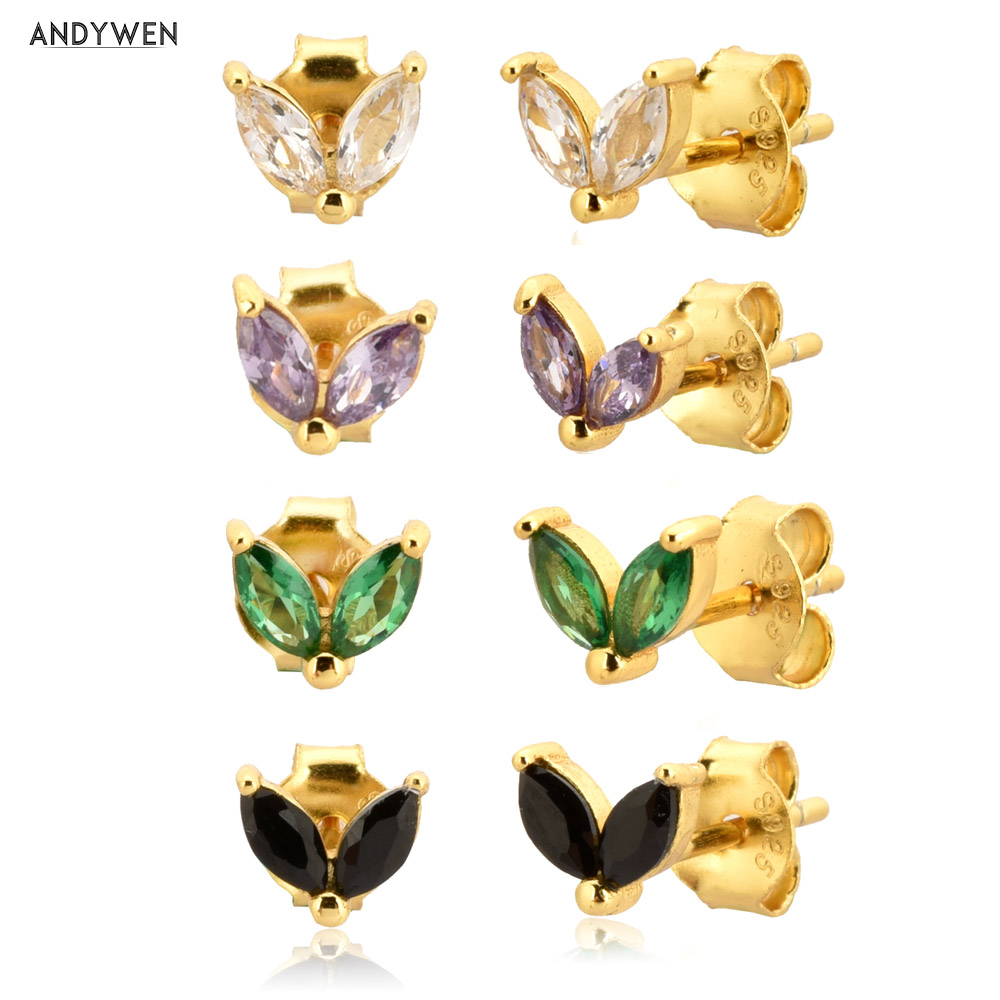 ANDYWEN 925 Sterling Silver Gold Rainbow Colorful Purple Green Stud Earring Piercing Ohrringe Luxury CZ Fashion Fine Jewels