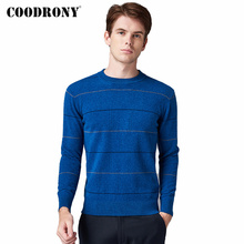 все цены на COODRONY Brand 100% Merino Wool Sweater Men Casual Striped O-Neck Pull Homme Autumn Winter Soft Warm Cashmere Pullover Men 93018 онлайн