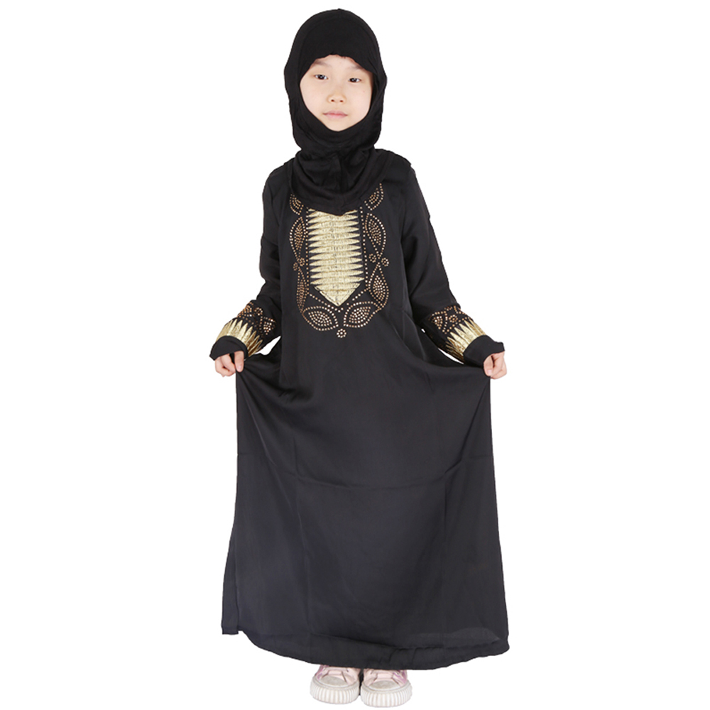Eid Mubarak Black Girls Abaya For Kids Turkey Hijab Muslim Dress Kaftan Dubai Caftan African Dresses Ramadan Islamic Clothing