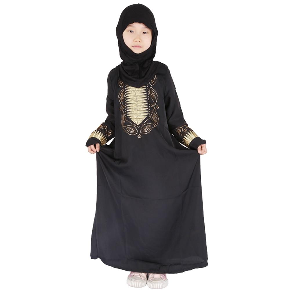Eid Mubarak Black Girls Abaya For Kids Turkey Hijab Muslim Dress Kaftan Dubai Caftan African Dresses Ramadan Islamic Clothing