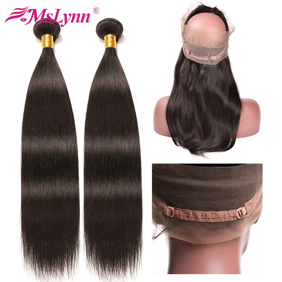 360 Lace Frontal With Bundle Peruvian Straight Hair Bundles With Frontal Human Hair Bundles With Closure Non Remy Hair Weaves