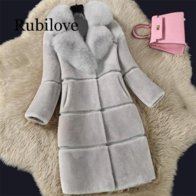 Rubilove Sheep Shearing Autumn and Winter Simulation Fur Overcoat Coat Jacket Fashion Imitation Fox Big Collar Long Womens