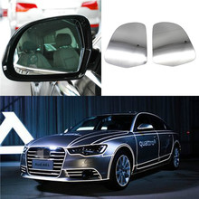 1 Pair L+R Car Heated Door Wing Mirror Glass Rearview Side Mirrors For Audi A3 A4 S4 A5 A6 S6 A8 Allroad Q3 Skoda Octavia Superb 2pcs set carbon fiber replacement side wing rear view rearview mirror cover w o side lane assist for audi a8 a3 q3 a4 b8 a5 a6