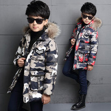 BINIDUCKLING Winter Park Jacket Coat For Boys Kids Snowsuit Camouflage Cartoon Fur Collar Hooded Children's Jackets Outwear 2019(China)