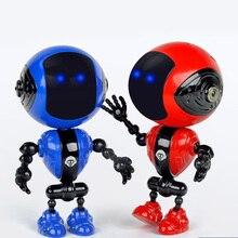 Перезаряжаемый детский сенсорный датчик, светодиодный умный музыкальный мини робот из сплава с подвижными шарнирами, usb зарядка, игрушки для детей, подарки