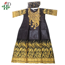 H&D african lace dress for women bazin rich dashiki dress embroidered gold pattern brown dress nigerian gele headtie lady outfit