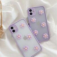 Funda 3D transparente con margaritas y flores para Samsung Galaxy, protector para teléfono móvil Samsung Galaxy S20 Plus S20FE S8 S9 S10 S10Plus Note 8 9 10 20 Ultra