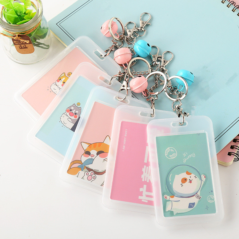 ETya Credit Card Holder Bag PVC Clear Women Cute Cartoon Protector Card Cover Travel ID Bank Bus Pouch Keyring Key Chain