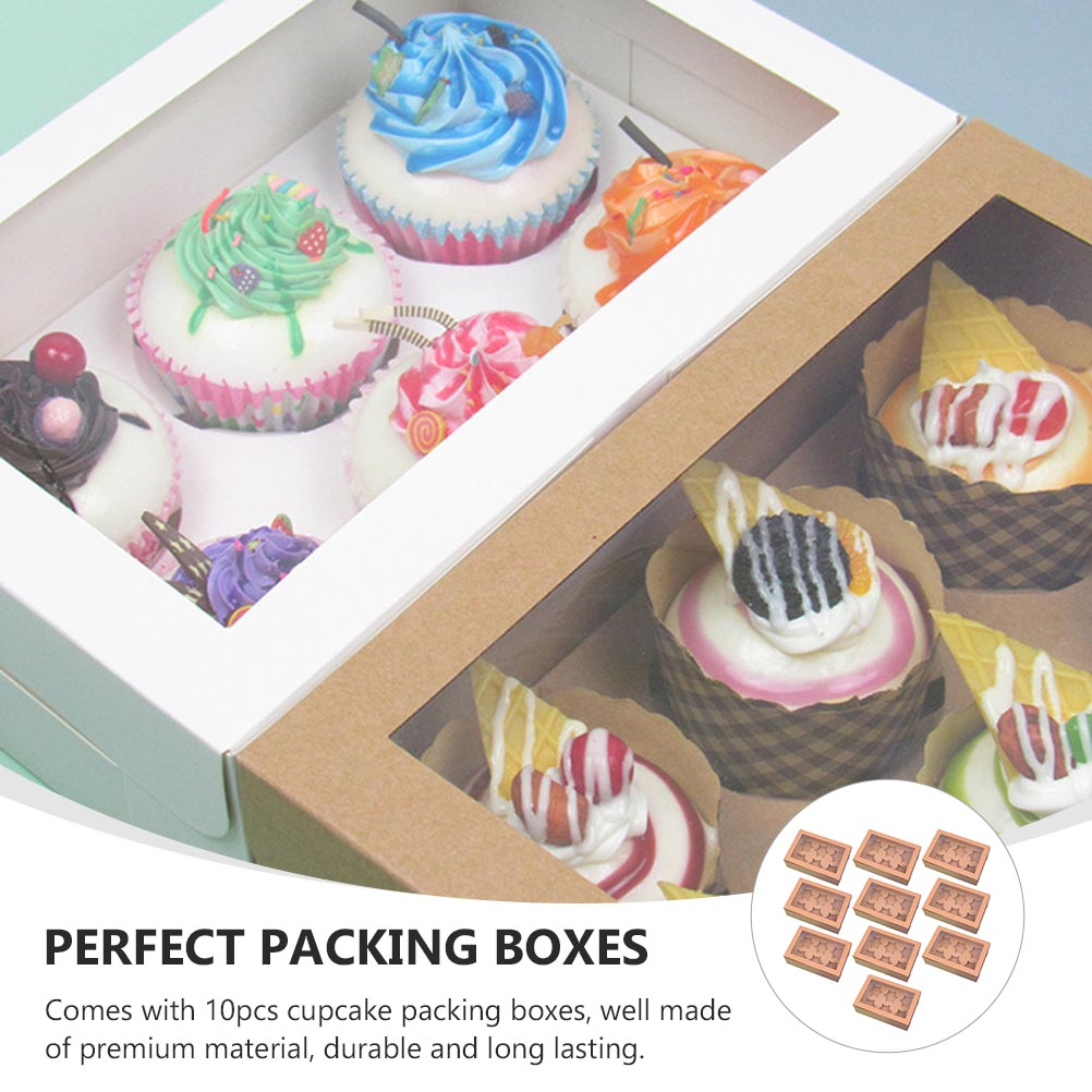 10pcs Dessert Packing Boxes Muffin Holder Pastry Packing Boxes Dessert Packing Boxes Cake Cupcake Storage Boxes for Party Shop