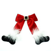 7 inch Christmas Cheerleading bows Santa feather Sock Hair Clip Kids Barrettes boutique