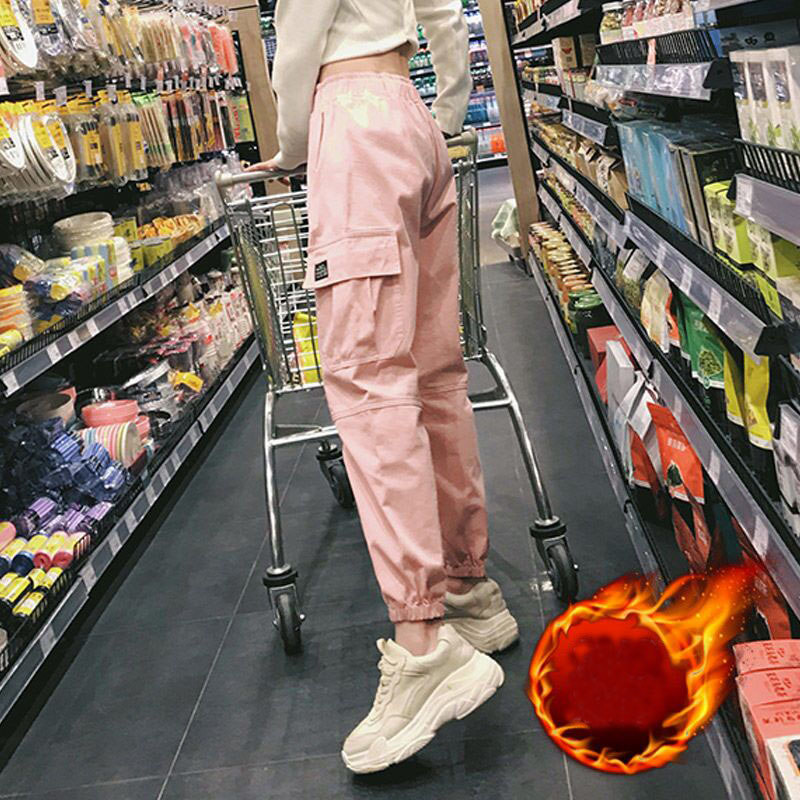 Cotton High Waist Cargo Pants 2019 Spring Pink Khaki Black Female Trousers 56