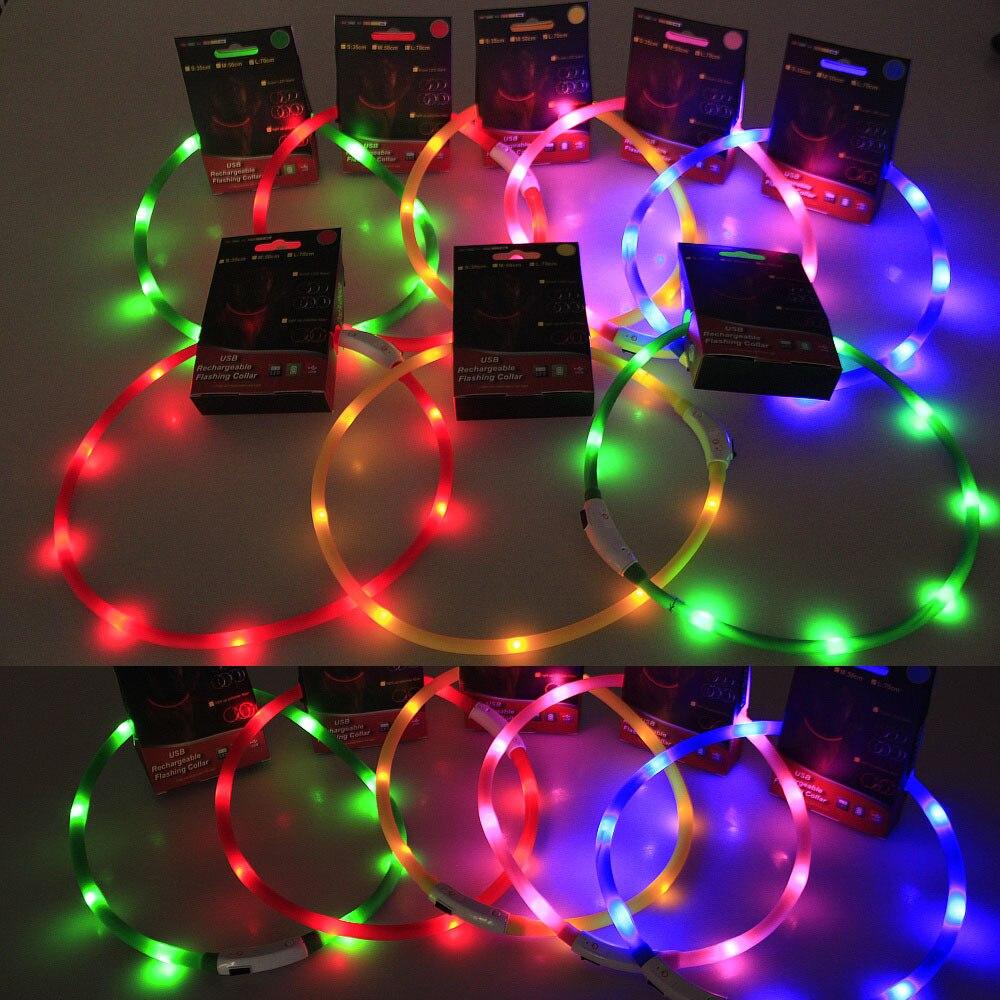 USB Charging Pet Silica Gel Collar Shining Pet Shiny Dog Collar Teddy Pomeranian Night Light Fluorescent Collar