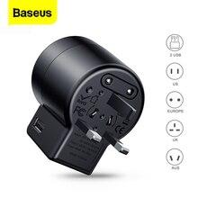 Baseus محول عام للسفر دوامة شاحن يو اس بي المزدوج USB 2.4A السفر الجدار شاحن التوصيل محول الطاقة محول للاتحاد الأوروبي الولايات المتحدة المملكة المتحدة الاتحاد الافريقي