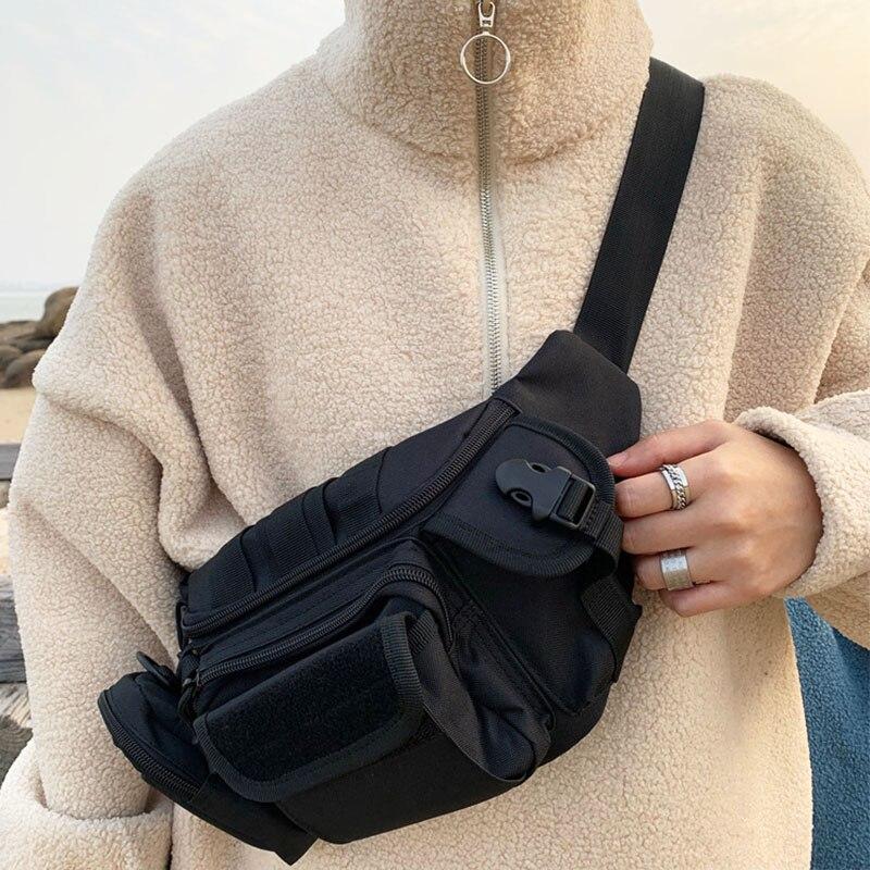 Unisex Waist Bags For Men Canvas Chest Bag Causal Fanny Pack Hip-hop Shoulder Bag Men Belt Bum Pack