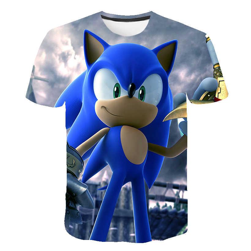 Năm 2020 Thời Trang 3D Sonic Thú Nhím Hoạt Hình Áo Thun Cho Bé Trai Và Bé Gái Mùa Hè Ngắn Tay Quần Áo Trẻ Em