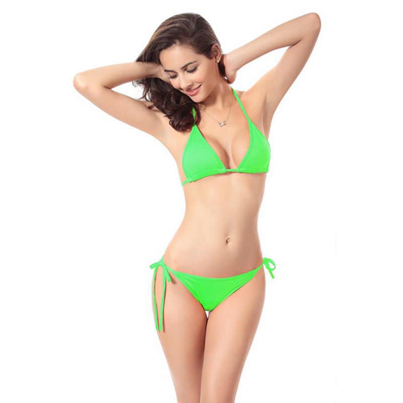 11 Warna Disesuaikan Segitiga Bikini Warna Solid Pakaian Renang Wanita Berenang Seksi Pakaian Renang Renang Bikini Wanita Dropship