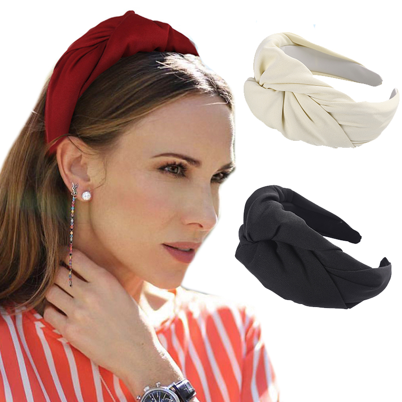 Haimeikang New Solid Color Hairband Female Sweet Simple Head Hoop Fashion Wild Ins Net Red   Headwear   Cross Stripe Access ries