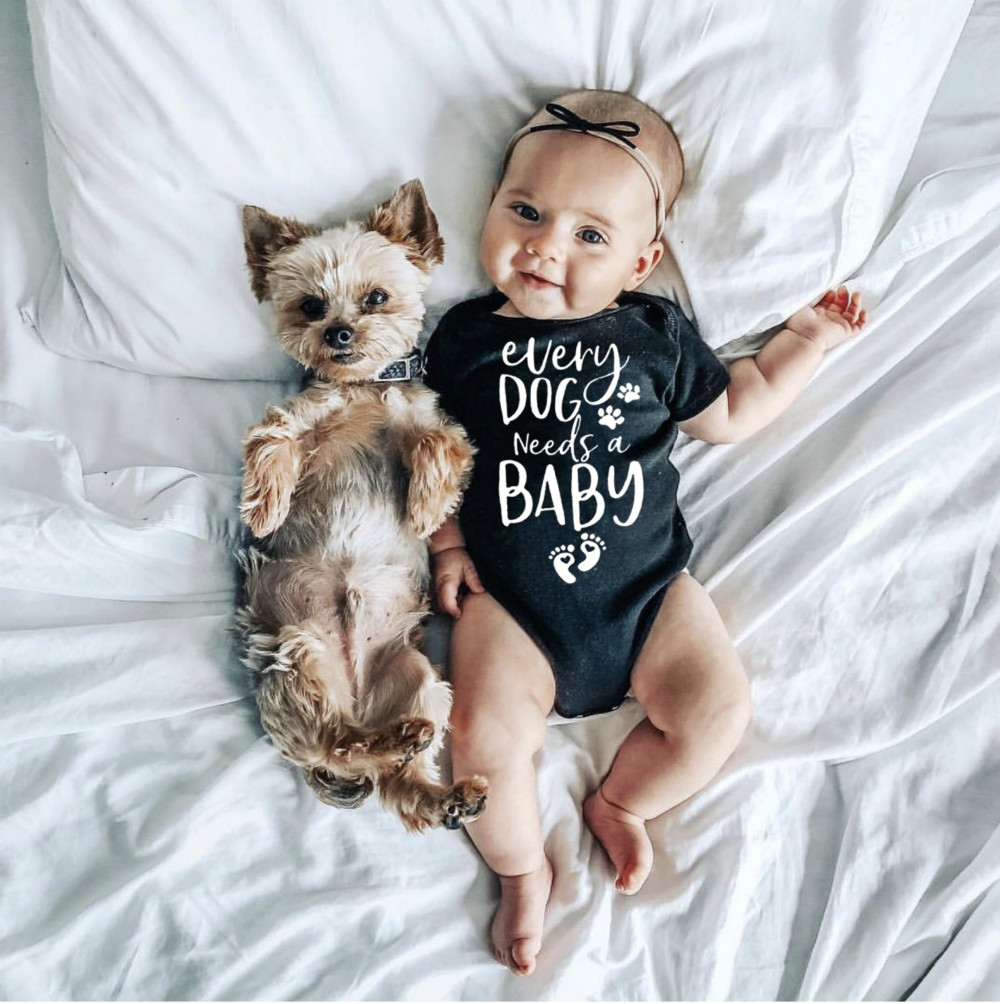 0-24M Infant Newborn Baby Girls Boys Short Sleeve Every Dog Needs A Baby Letter Print Romper Jumpsuit Outfit Clothes Summer | Happy Baby Mama