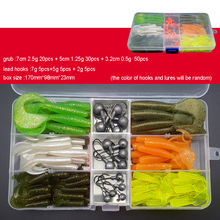 115pcs/lot Fishing Lure Set With Box Texas Rig Mixed Silicon Bait Grub Soft Lure 7cm/5cm Lead Head Hooks 2g/5g/7g B342 outkit 10pcs lot copper lead sinker weights 10g 7g 5g 3 5g 1 8g sharped bullet copper fishing accessories fishing tackle